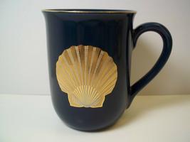 Otagiri coffee mug Golden Treasure Seashell Deep Teal blue Japan 8 oz gold rim - $9.05