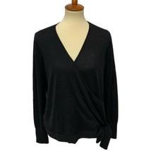 Ann Taylor Damen Strick Licht Wrap Pullover Merino Wolle Schwarz Größe L - $28.15