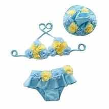 PANDA SUPERSTORE Sky Blue Flower Girl Two-Piece Swimsuit Little Girl Bikini with