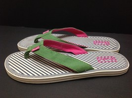 Canvas Sandals On Pink Green Womens 7 Flip Thongs Comfort Slip Keds Sz Flops fWYqfd