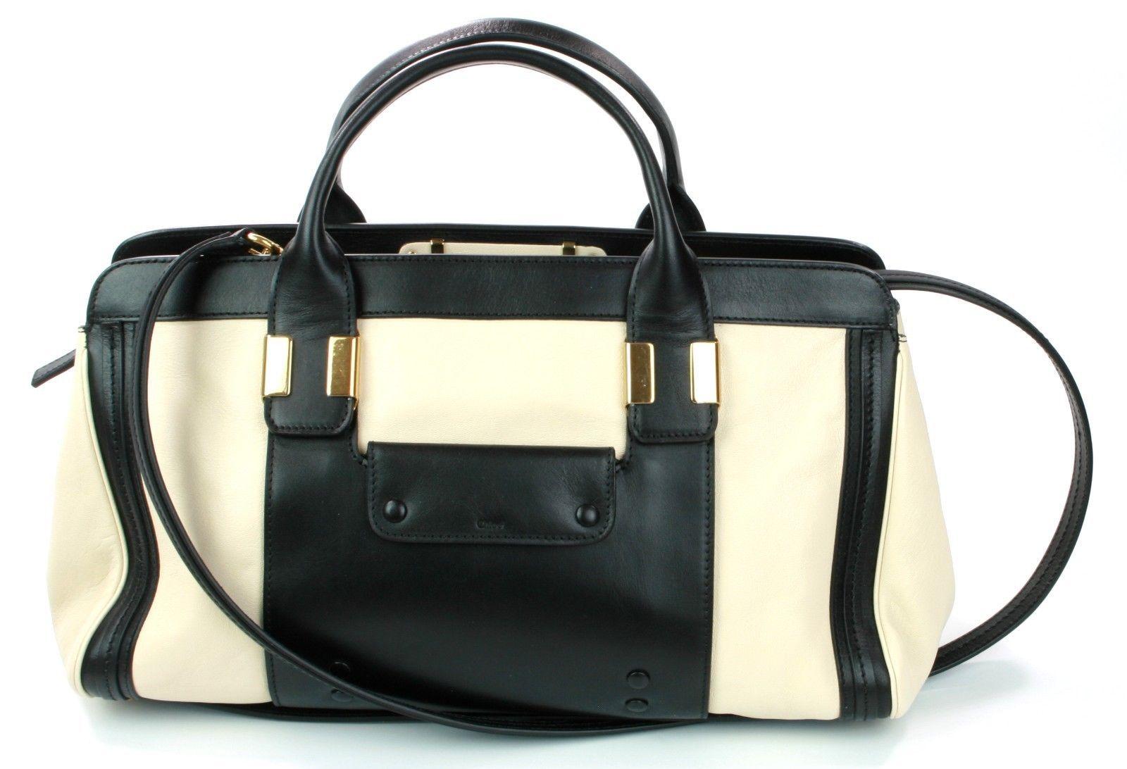 Chloe Alice Heiser weiß schwarzes Leder Tragetasche mittelgroße Handtasche