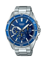 Casio Men's Quartz Dive Blue Chronograph Dial Silver-Tone 43mm Watch MTD... - $93.04 CAD