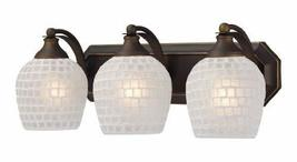 Elk 570-3B-WHT 3-Light Vanity In Aged Bronze and White Mosaic Glass - $4.267,61 MXN