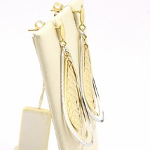 Drop Earrings Yellow Gold White 750 18K, Triple Drop, Made in Italy image 2