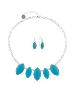 Liz Claiborne Women's Blue Necklace & Earring Set Silver Tone 18 Inch NEW - $19.79