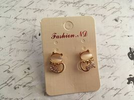 Cat Post Earrings, Gold Plate and Rhinestones, Plastic Earnuts, Novelty ... - $10.00