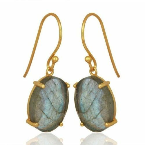 Natural LABRADORITE Gemstones Earrings 925 Silver Gold Plated Jewelry Jaipur