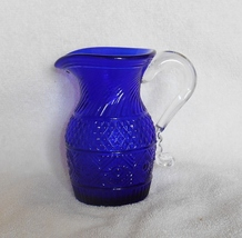 MMA Art Glass Diamond Sunburst Pitcher by Imperial Cobalt with Clear Handle - $26.98