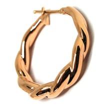 """18K ROSE GOLD EARRINGS, HOOPS, CIRCLE DIAMETER 26 MM, 1.0"""", BRAID, TWISTED image 2"""