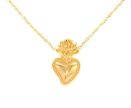 """18K YELLOW GOLD NECKLACE WITH 17mm SACRED HEART OF JESUS PENDANT, ROLO CHAIN 18"""" image 1"""