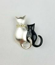 Vintage enamel two cats brooch silver tone black kitten - $20.79