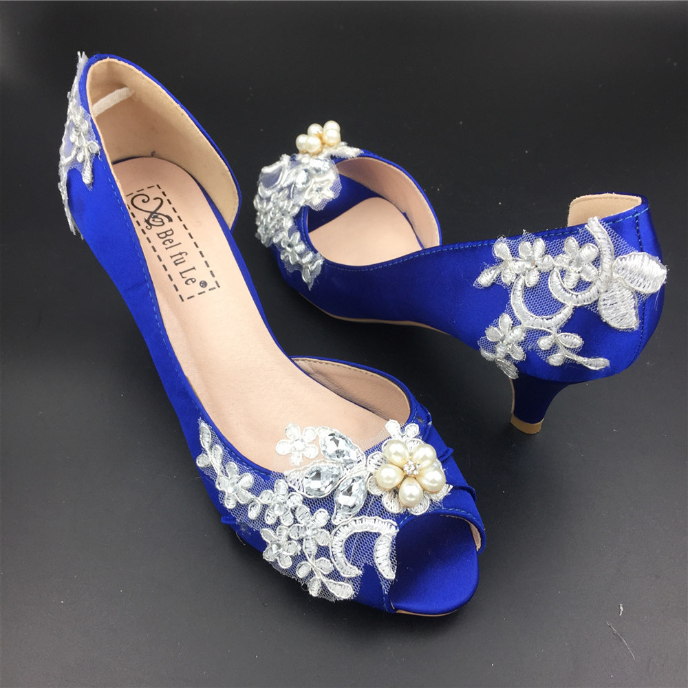 Women Blue Lace Pearls Satin Low Heels Wedding Shoes,RoyalBlue Lace Bridal Shoes image 2