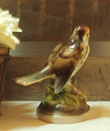 Vintage Wood Thrush Bird Figurine // 1950's Porcelain Bird Statue //  - $14.50