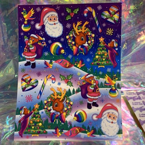MINT GLOSSY COMPLETE S351 Lisa Frank Christmas Holiday Themed Stickers Santa