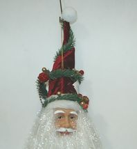 Sterling 382463 Santa Head 24 Inches Burgundy Hat Veining Greenery Berries image 3