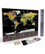 "Deluxe Scratch Off Travel World Map 33""x24"" - Extra Large USA Travel Pos... - $19.22"