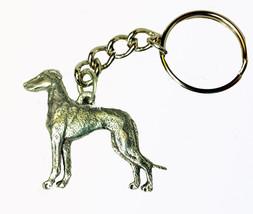 Greyhound Dog Keychain Keyring Harris Pewter Made USA Key Chain Ring - $9.48