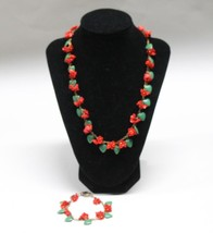 Vintage Czechosloakian Glass Hearts and Flowers Necklace and Bracelet Se... - $90.00