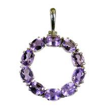 Fine 925 sterling silver Amethyst Gemstone Pendant Jewelry FSTHU15JJP75 - $26.93
