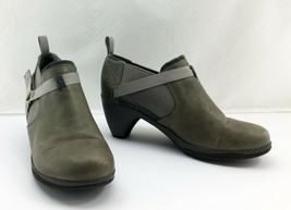 Merrell Aluminum Lt Olive Leather Harness Strap Pull On Ankle Booties-Women's 8 - $37.95