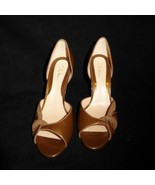 8 1/2 B Cole Haan Sparkly Brown Open Toed High Heel Shoes Pumps EUC Leat... - $22.24