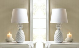 White Porcelain Pineapple Shaped Base with Fabric Shade Table Lamps Set ... - $92.95