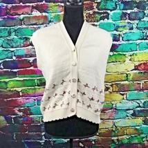 Sweater Loft classics cream Floral classic vest large L Cozy soft - $11.35