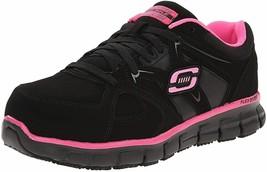 Skechers for Work Women's Synergy Sandlot Lace-Up, Black/Pink, 8 XW US/5 UK/38EU - $71.99