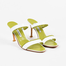 39 SZ Ruffle Manolo Sandals Blahnik Green Lime Leather White Slide Mule qwZvHwB