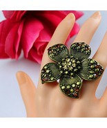 New the European and American fashion exaggerated golden flower ring Col... - $13.53