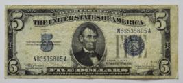 1934 C $5 Silver Certificate Five Dollars Note N83535805A FR#1653 Wide Mule - $39.59