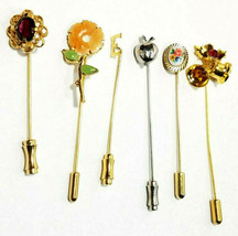 Lot of 6 Assorted Vintage Womens Lapel Pins, 5 Gold Tone, 1 Silver Tone