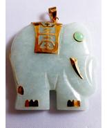 14k Yellow Gold Large Jade 20g Elephant Pendant - $247.50