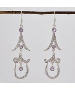 jaipur 925 Sterling Silver appealing Natural Purple Earring gift UK - $30.71