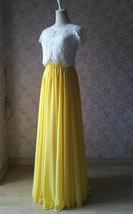 Yellow Chiffon Maxi Skirt Outfit Yellow High Waisted Floor Pleated Chiffon Skirt image 4