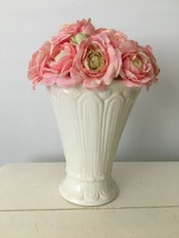 Artificial Floral ARRANGEMENT Flower Pink w/White Vase Shabby Chic  - $23.76
