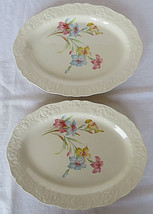 Vintage Lot of 2 Edwin M. Knowles China Co. USA 37-1 Ovale Plates Floral - $30.00