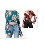 $34.00 Polly & Esther Juniors' Printed Floral Split-Back Crop Top - $9.25