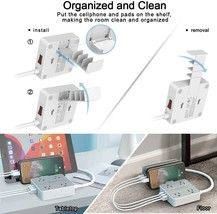 Power Strip 4 Outlets & 3 USB Ports & Removable Phone Holder Charger Station image 3