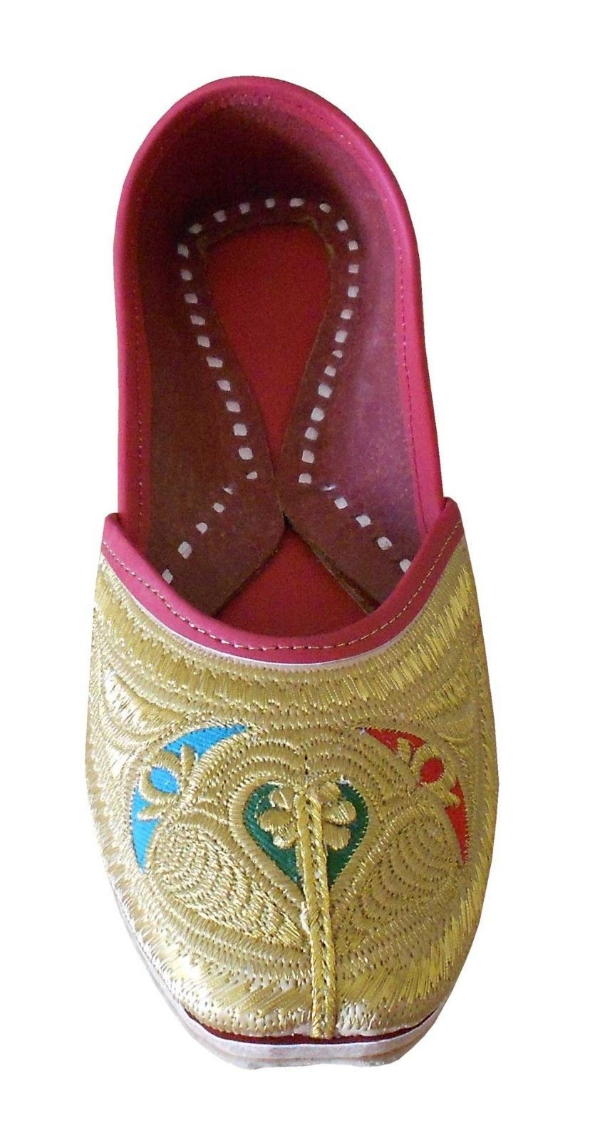 Primary image for Women Shoes Indian Handmade Mojaries Leather Jutti Gold Flip Flops Flat US 7