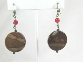 Vintage Brown Red Beaded Drop Dangle Earrings Pierced Hook 50020 - $12.86