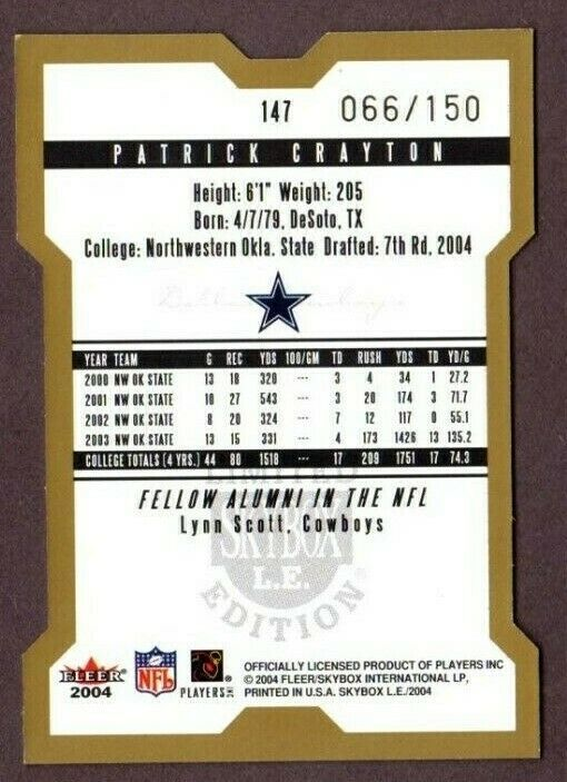 2004 SKYBOX LE #147 PATRICK CRAYTON (RC) FOOTBALL CARD-DALLAS COWBOYS