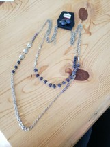 1125 Silver W/ Grayish Purple Beads Necklace Set (New) - $8.58