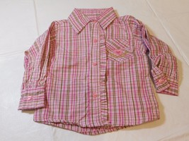 Mom Petite Baby Girls 6-9 Months Long Sleeve Shirt Top Pinks Plaid NWT - $13.60