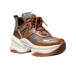 Michael Kors Women's Olympia Trainer Glitter Chain Mesh Bronze Sneaker Shoes image 3