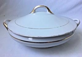 Vintage Noritake The Yukon Covered Vegetable Casserole Dish White Gilt G... - $19.95