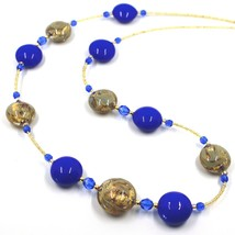 """LONG NECKLACE BLUE YELLOW MURANO GLASS DISC GOLD LEAF, 70cm, 27.5"""" ITALY MADE image 2"""