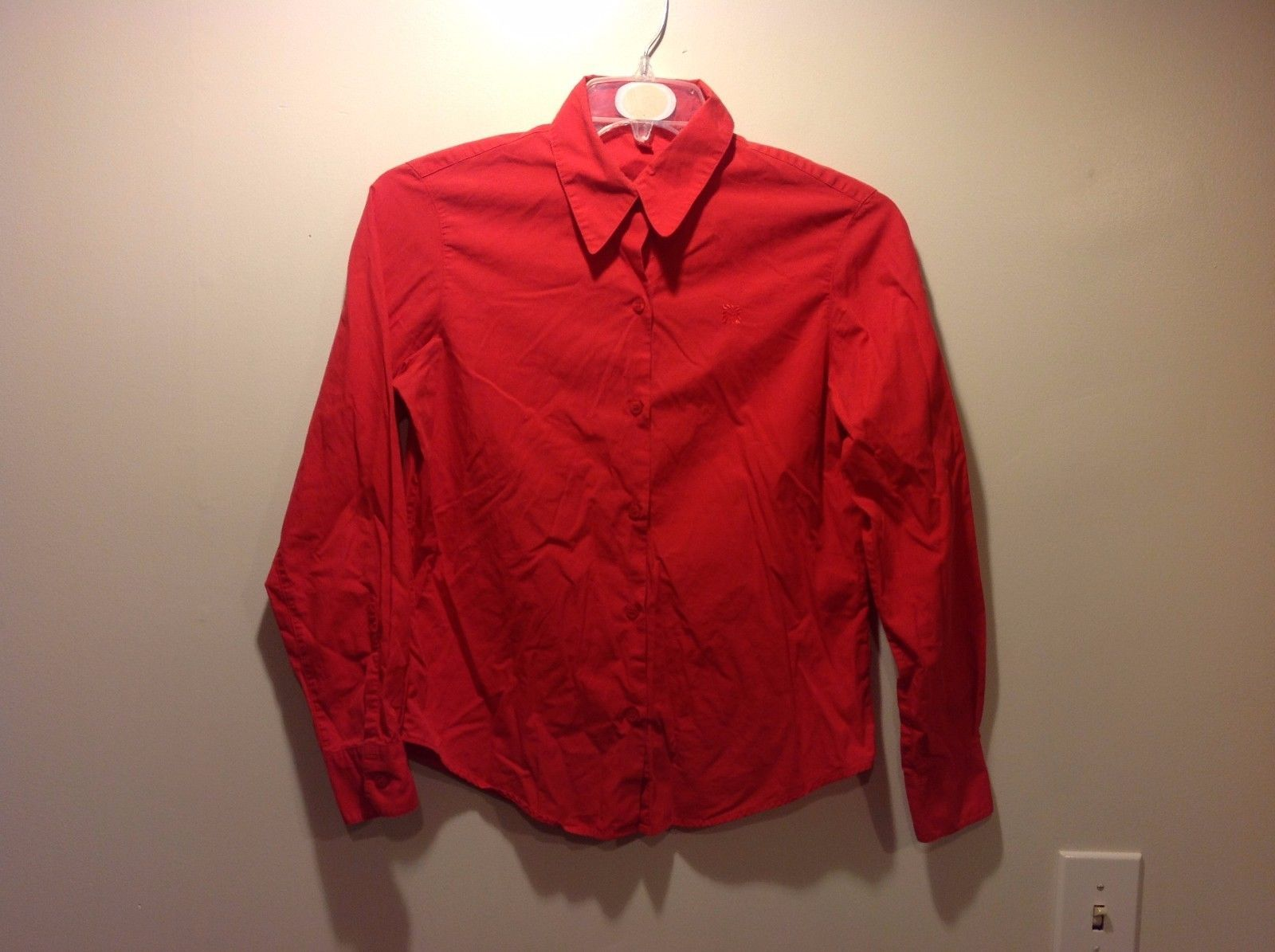 Ladies Scarlet Colored Long Sleeve Button Up Blouse by Anne Klein Sz 8