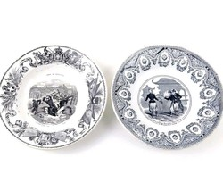 Lot of 2 Antique 1800s French Black & White Transfer Ware Soup Bowls - $35.62