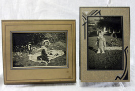 Vintage Antique 2 Photos Little Girl with Chair Puppies Art Deco Folio - $9.99